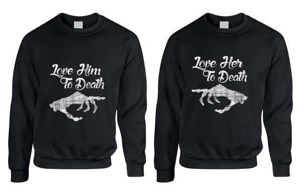 Love her Love him to death Couple sweaters Valentines day - ALLNTRENDSHOP - 2