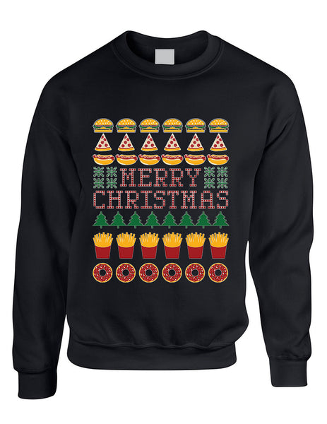 Adult Crewneck Junk Food Merry Christmas Ugly sweater Humor Top - ALLNTRENDSHOP - 1