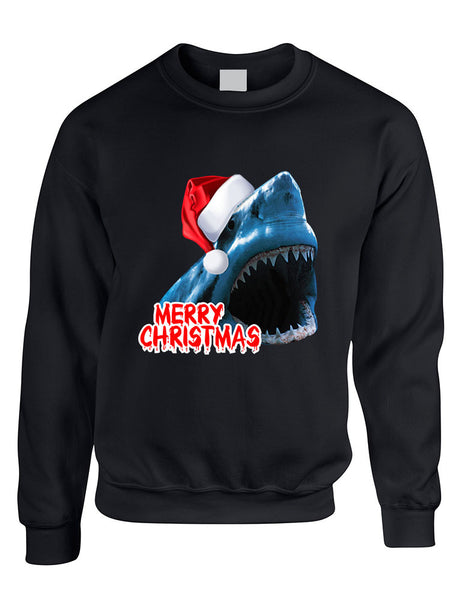 Adult Crewneck Santa Jaws Merry Christmas Ugly Xmas Funny Top - ALLNTRENDSHOP - 2