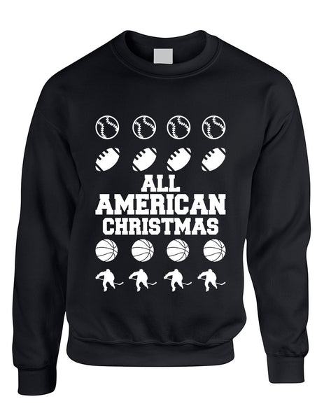 Adult Crewneck All American Christmas Love Sport Holiday Top - ALLNTRENDSHOP - 3