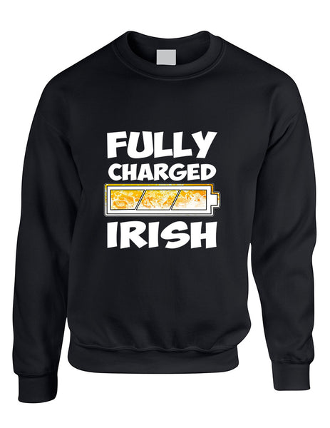 Adult Sweatshirt Fully Charged Irish St Patrick's Day Top - ALLNTRENDSHOP - 2