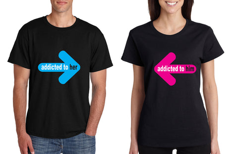 Addicted to her Addicted to him Valentine day tshirts Couple - ALLNTRENDSHOP