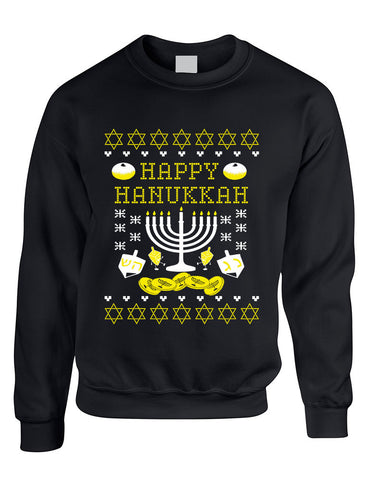 Adult Crewneck Happy Hanukkah Jewish Menorah Ugly Sweater - ALLNTRENDSHOP - 1