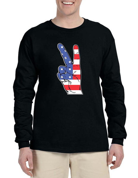Men's Long Sleeve American Flag Hand 4th Of July Shirt