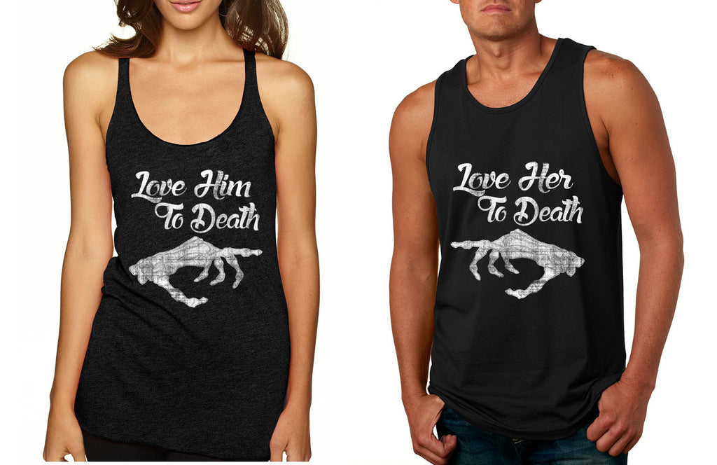 Love her Love him to death Couple Tanktops Valentines day - ALLNTRENDSHOP - 1