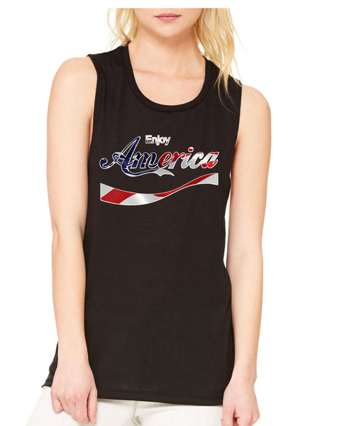 Women's Flowy Muscle Enjoy America 4th Of July USA Top