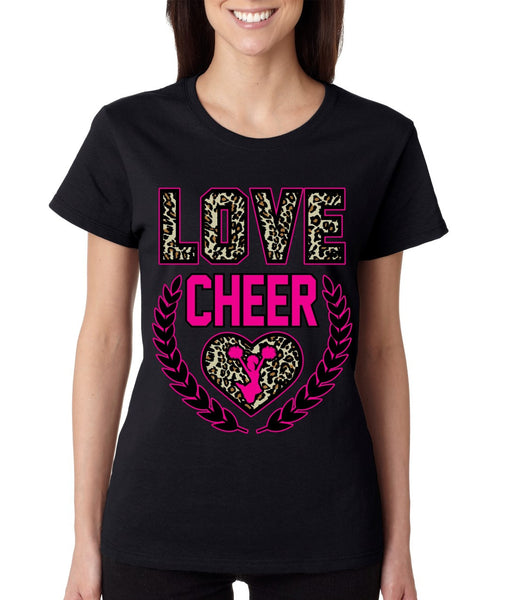 Love Cheer Leopard womens T-Shirts - ALLNTRENDSHOP - 3