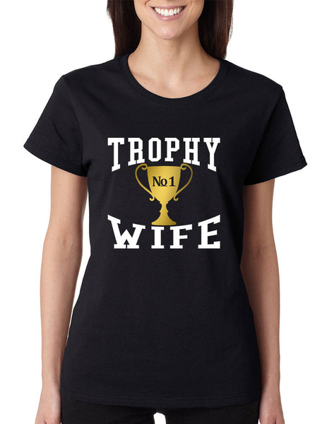 Women's T Shirt Trophy Wife Cool Xmas Love Family Holiday Gift - ALLNTRENDSHOP - 1