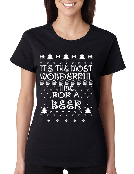 Women's T Shirt It's Most Wonderful Time for Beer Ugly Xmas Shirt - ALLNTRENDSHOP - 2