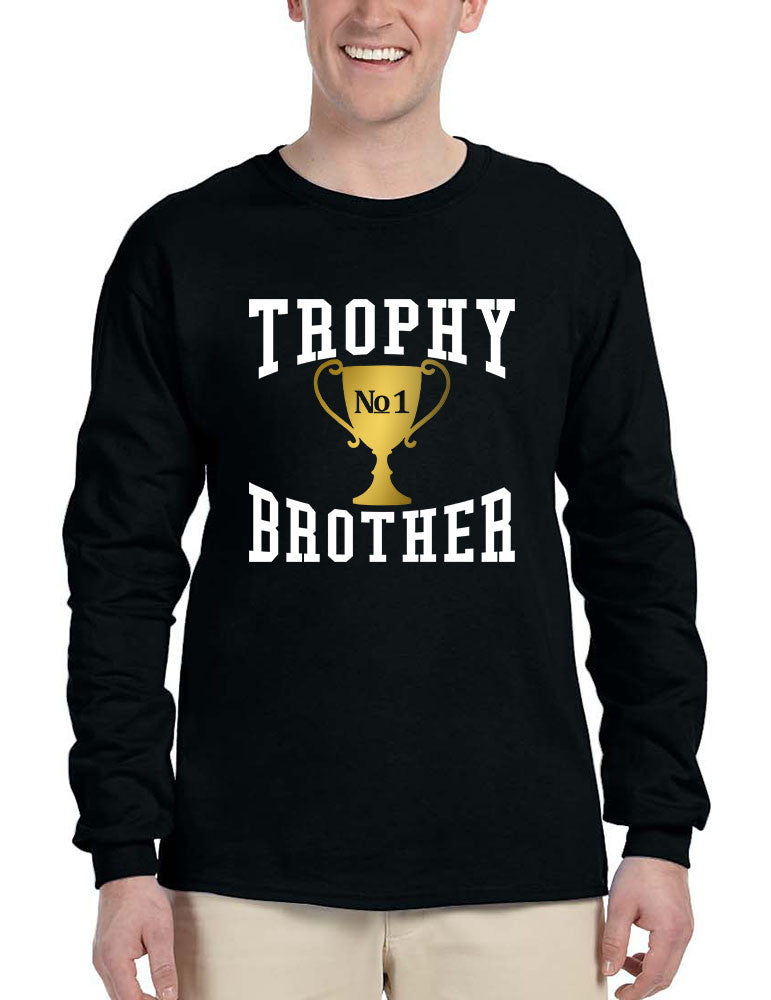 Men's Long Sleeve Trophy Brother Love Family Gift Graphic Tee - ALLNTRENDSHOP - 1