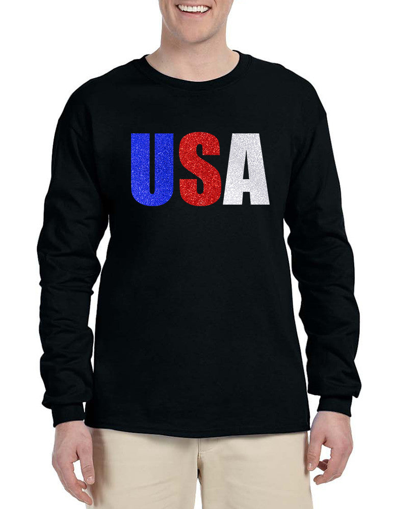 Men's Long Sleeve USA Glitter Flag Colors 4th Of July Tee