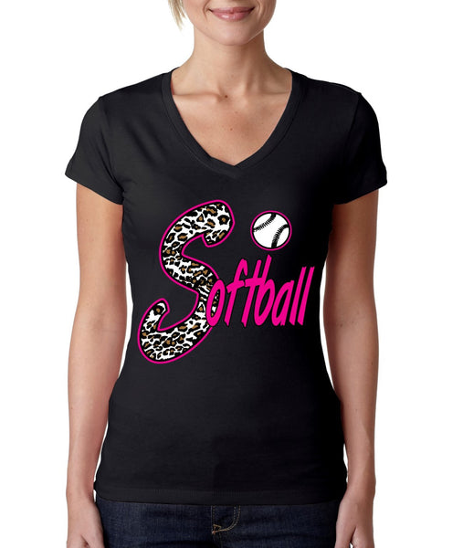 Softball White Leopard cheetah women's sporty V - ALLNTRENDSHOP - 1