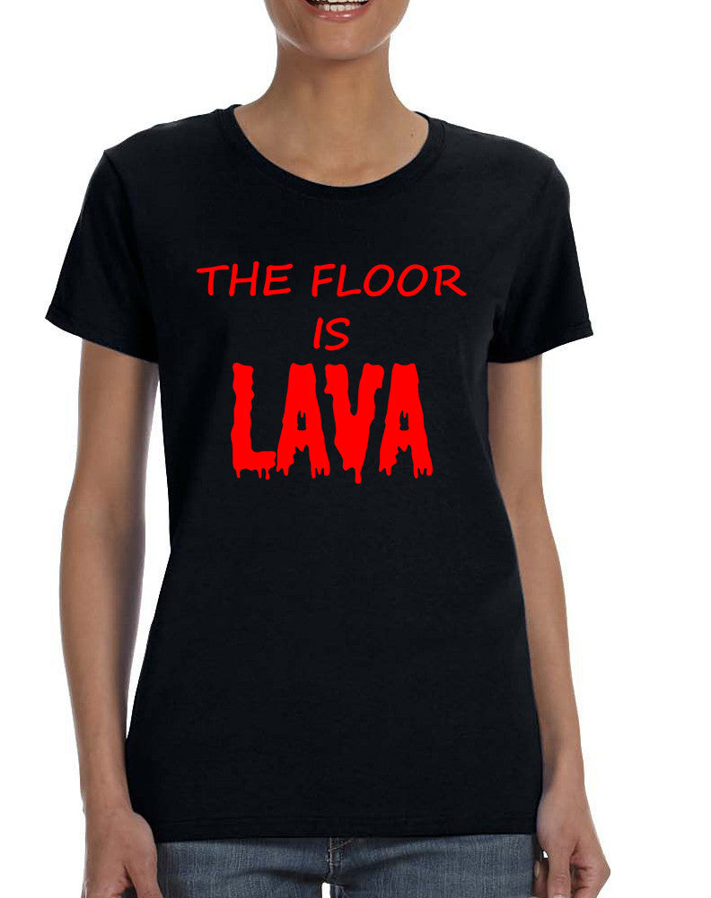 Women's T Shirt The Floor Is Lava Red Popular Game Tee Fun Gym