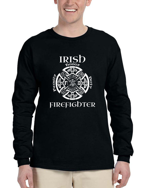 Men's Long Sleeve Irish Firefighter St Patrick's Patry Irish Tee - ALLNTRENDSHOP - 2