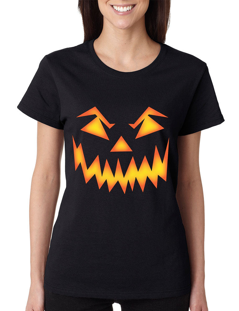 Women's T Shirt Angry Pumpkin Face Cool Halloween Costume - ALLNTRENDSHOP