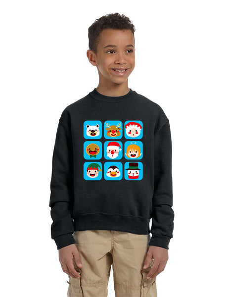 Kids Crewneck Christmas Icons Cute Holiday Symbols Top - ALLNTRENDSHOP - 2