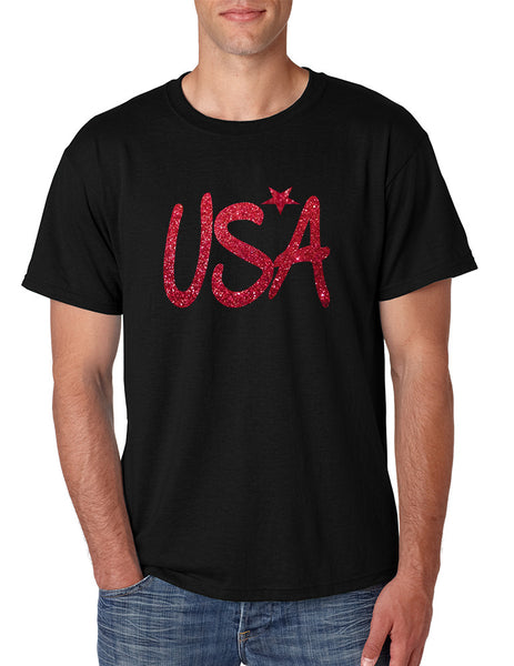 Men's T Shirt USA Red Glitter Love America 4th Of July Shirt