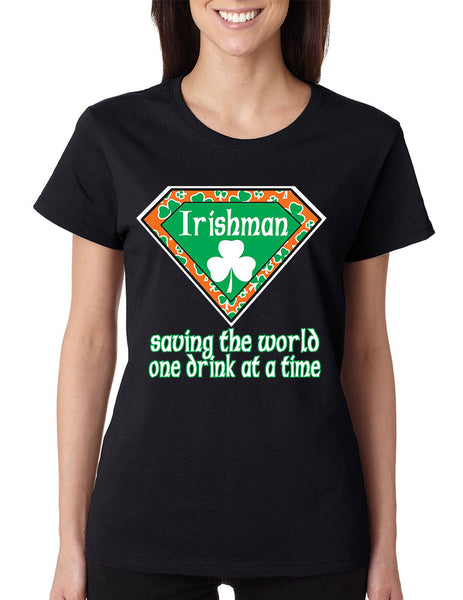 irishman saving the world st patricks women t-shirt - ALLNTRENDSHOP - 1