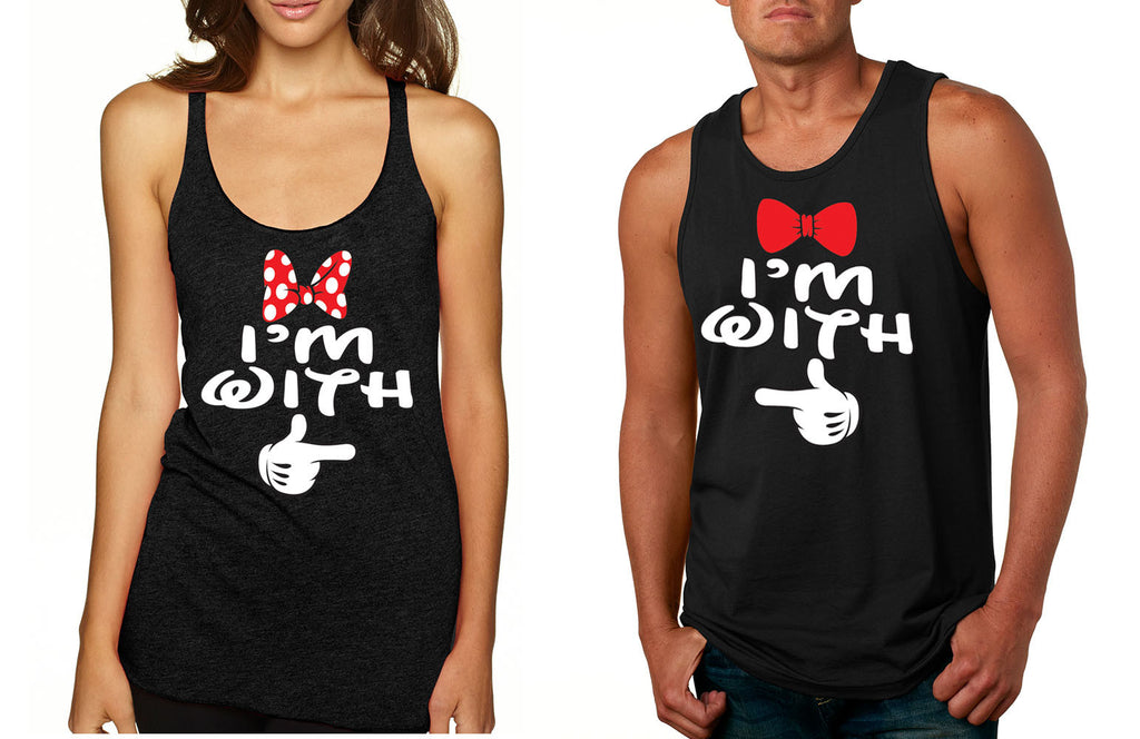 Im with him Im with her couples tanktops Valentines day - ALLNTRENDSHOP - 1