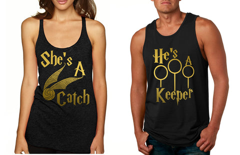 Couple Tank Top She's A Catch He's A Keeper Love Gift - ALLNTRENDSHOP - 1