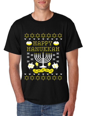 Men's T Shirt Happy Hanukkah Menorah Jewish T Shirt - ALLNTRENDSHOP - 1