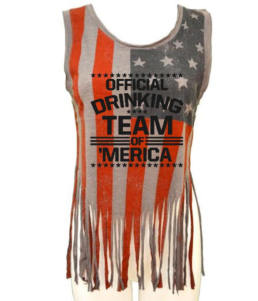 Official drinking team of America Women's Shredded Us Flag Tanktop - ALLNTRENDSHOP - 3