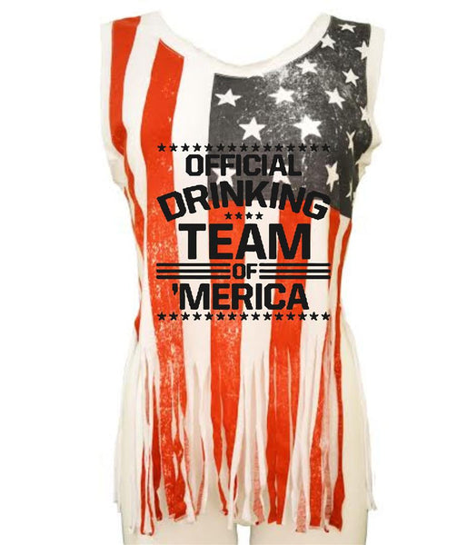 Official drinking team of America Women's Shredded Us Flag Tanktop - ALLNTRENDSHOP - 1
