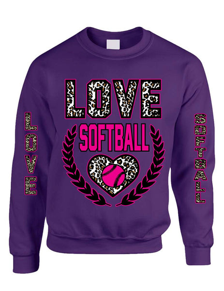 Love Softball Leopard womens Sweatshirts - ALLNTRENDSHOP - 4
