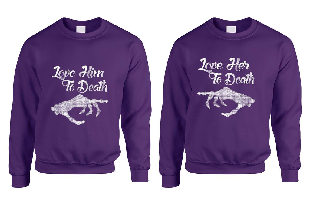 Love her Love him to death Couple sweaters Valentines day - ALLNTRENDSHOP - 1