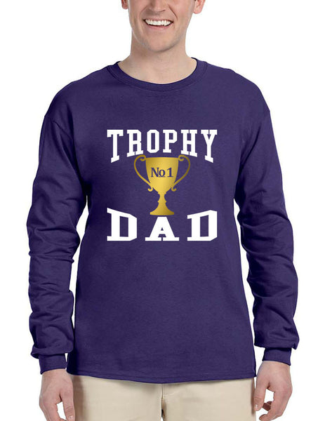Men's Long Sleeve Shirt Trophy Dad Love Father Daddy Cool Gift - ALLNTRENDSHOP - 2