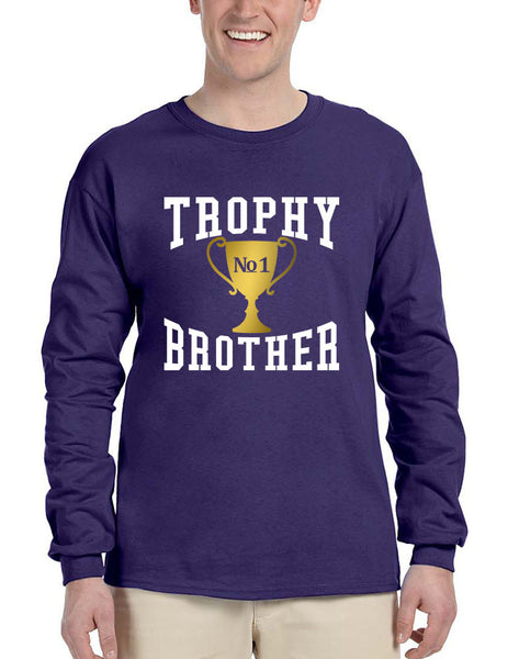 Men's Long Sleeve Trophy Brother Love Family Gift Graphic Tee - ALLNTRENDSHOP - 2