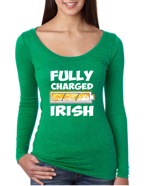 Women's Shirt Fully Charged Irish St Patrick's Day Funny Top - ALLNTRENDSHOP - 2
