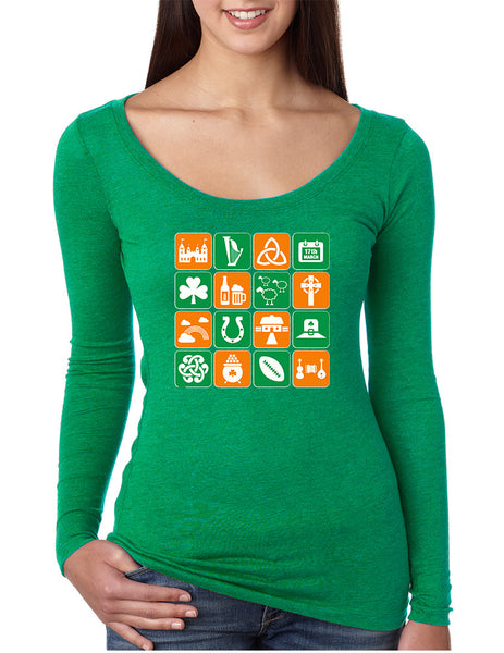 Women's Shirt Irish Icons St Patrick's Day Symbols Shirt