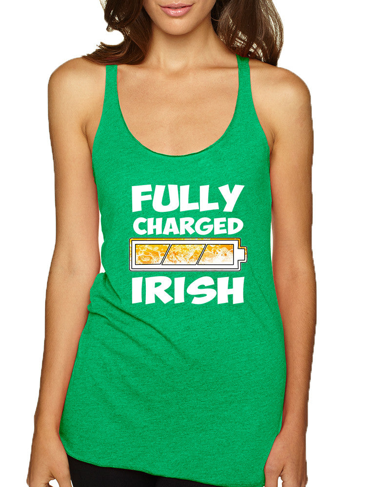 Women's Tank Top Fully Charged Irish St Patrick's Day Top - ALLNTRENDSHOP - 1
