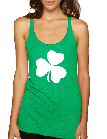 Women's Tank Top White Shamrock Graphic St Patrick's Day Cool - ALLNTRENDSHOP - 1