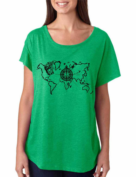 Women's Dolman Shirt World Map Compass Cool Nice Shirt - ALLNTRENDSHOP - 1