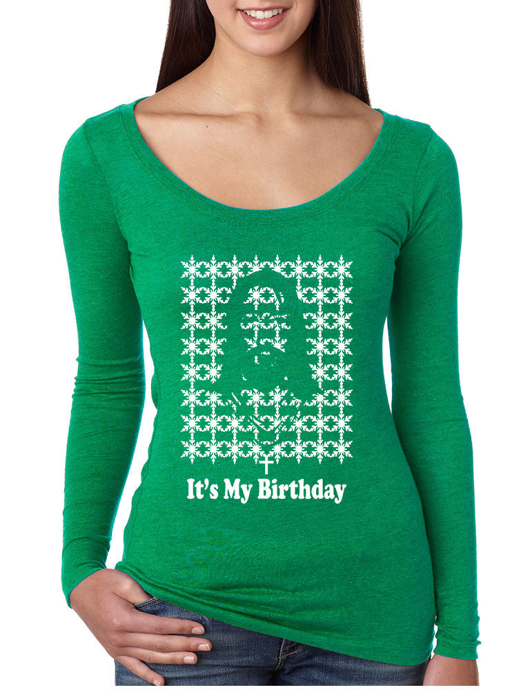 Its my birthday Jesus womens Long Sleeve Shirt - ALLNTRENDSHOP - 1
