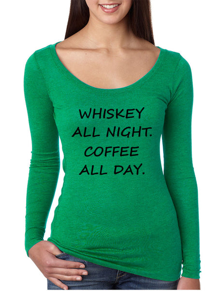 Women's Shirt Whiskey All Night Coffee All Day Party Humor Tee - ALLNTRENDSHOP - 1