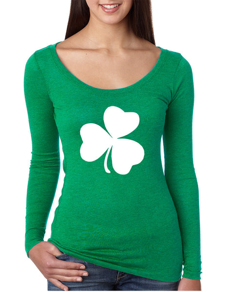 Women's Shirt White Shamrock Graphic St Patrick's Day Cool Top - ALLNTRENDSHOP - 1