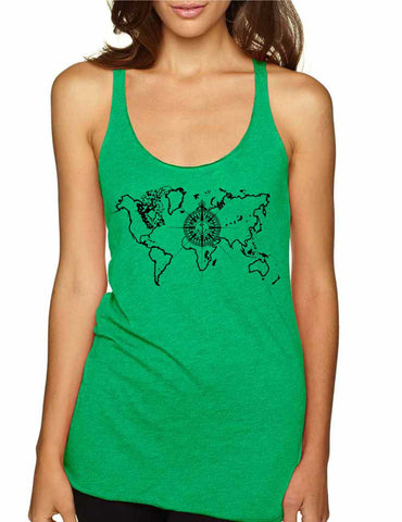 Women's Tank Top World Map Compass Cool Graphic Top - ALLNTRENDSHOP - 1