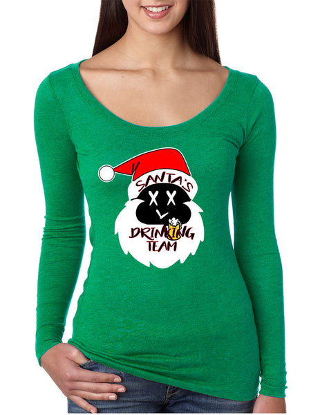 Women's Shirt Santa's Drinking Team Funny Ugly Xmas Shirt - ALLNTRENDSHOP - 4