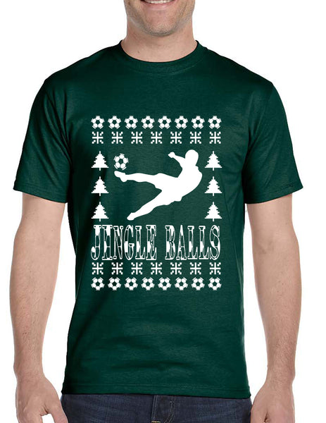 Men's T Shirt Jingle Balls Soccer Ugly Xmas Sport Lover Gift Idea