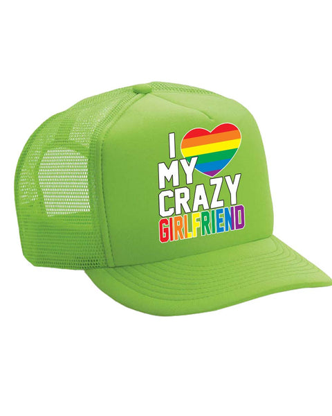 I love my crazy Girlfriend Single Color Trucker Cap - ALLNTRENDSHOP