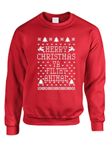 Merry Christmas Ya Filthy Animal Women's Crewneck Sweatshirt Ugly Christmas Sweatshirt - ALLNTRENDSHOP - 1