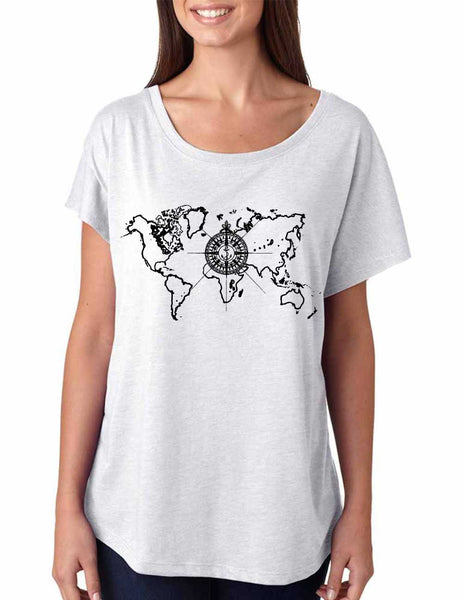 Women's Dolman Shirt World Map Compass Cool Nice Shirt - ALLNTRENDSHOP - 2