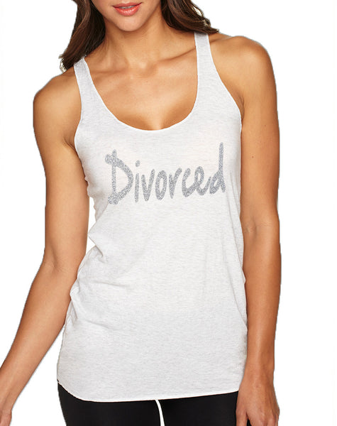 Women's Tank Top Divorced Glitter Silver Print Fun Single Top