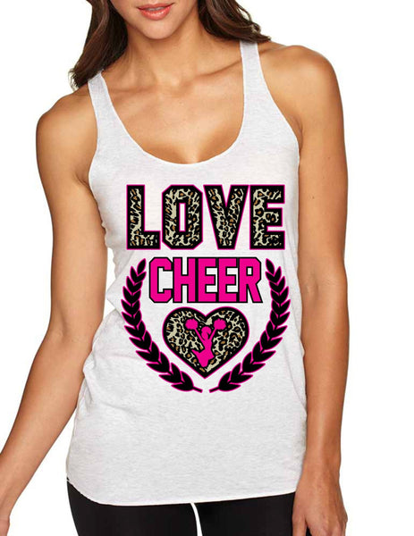 Love Cheer Leopard Womens Triblend Tanktop - ALLNTRENDSHOP - 3