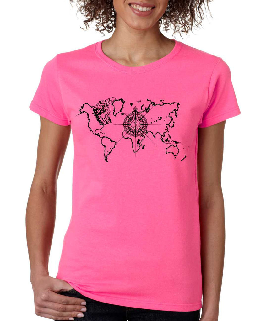Women's T Shirt World Map Compass Cool Graphic Tee - ALLNTRENDSHOP - 1