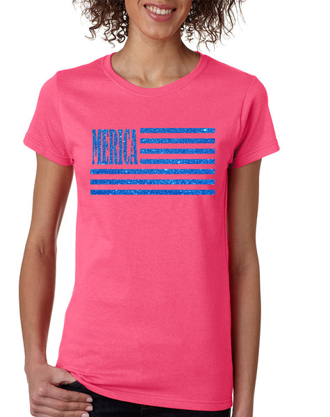 Women's T Shirt Merica Glitter Blue Flag 4th Of July Tee