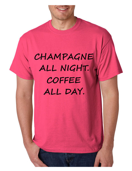 Men's T Shirt Champagne All Night Coffee All Day Cool Party Tee - ALLNTRENDSHOP - 4